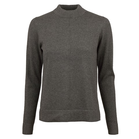 Grey Half Turtle Neck Cashmere Blend
