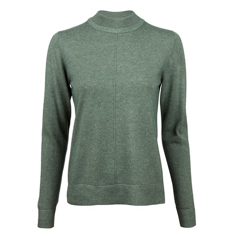 Green Silk Cashmere Mock Neck
