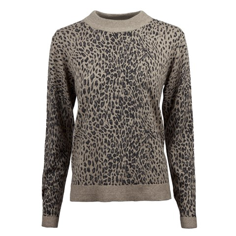 Beige Leopard Patterned Turtle Neck