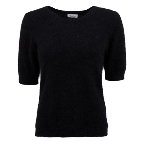 Black Angora Short Sleeved Crew Neck
