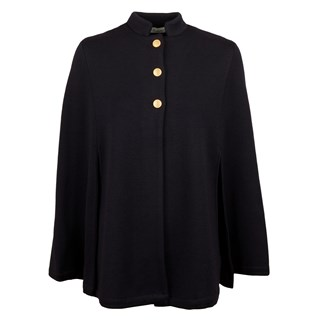 Navy Cape With Mandarin Collar