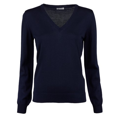 Navy V-Neck Merino Sweater