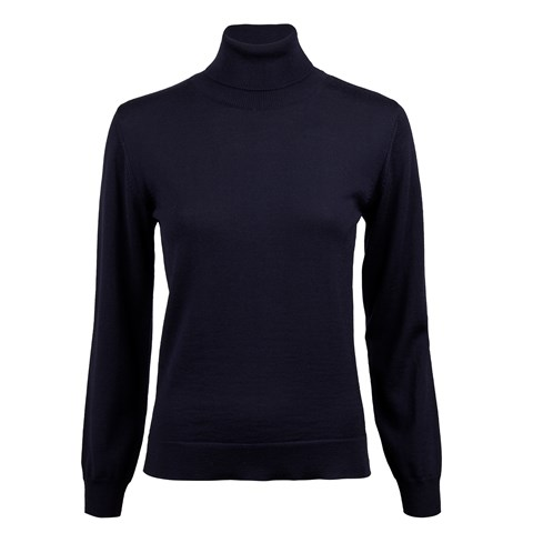 Navy Merino Roll Neck