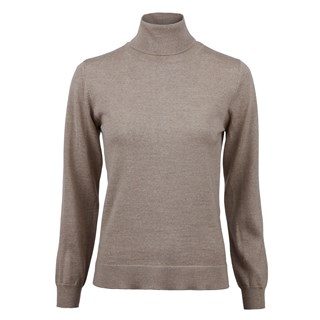 Beige Merino Wool Roll Neck
