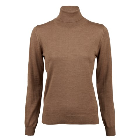 Beige Merino Roll Neck