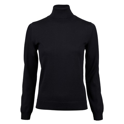 Black Merino Roll Neck
