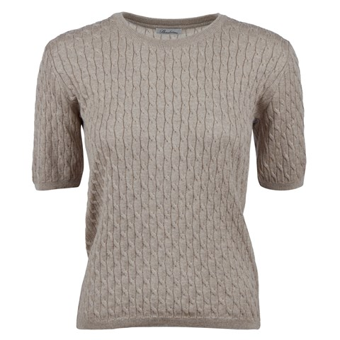 Beige Cable Crew Neck Short Sleeve