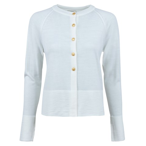 White Cardigan With Golden Buttons