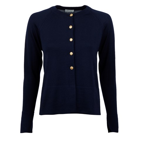 Navy Cardigan With Golden Buttons