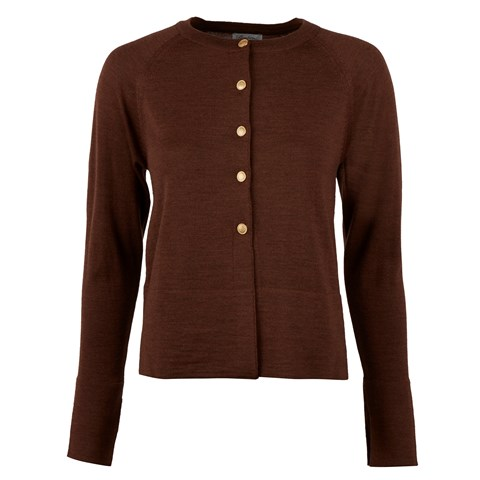 Brown Cardigan W Golden Buttons