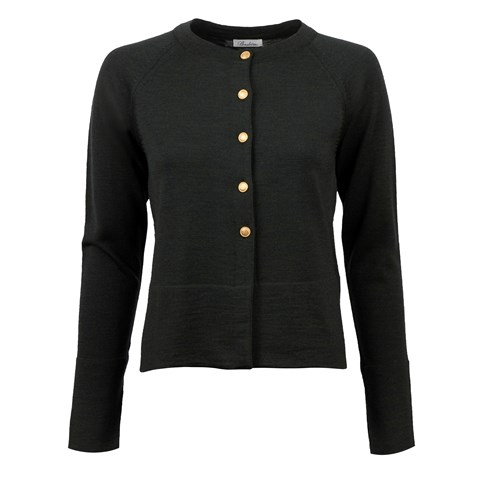 Dark Green Cardigan With Golden Buttons
