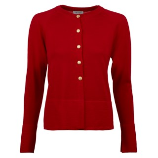 Red Cardigan With Golden Buttons
