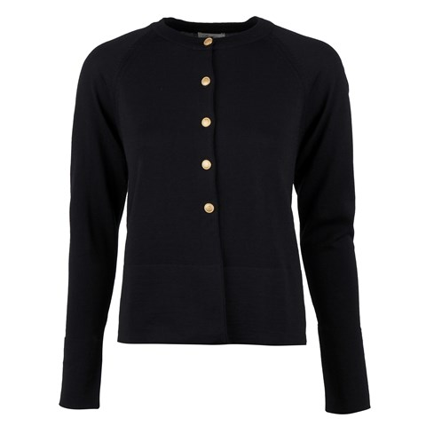 Black Cardigan W Golden Buttons