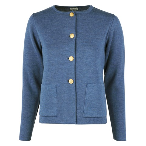 Stina Merino Cardigan Blue