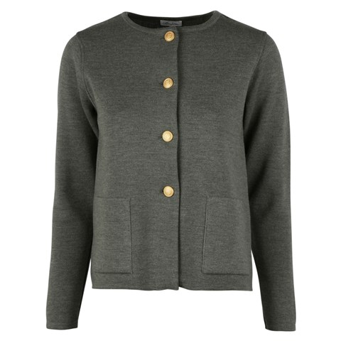 Stina Merino Cardigan Green