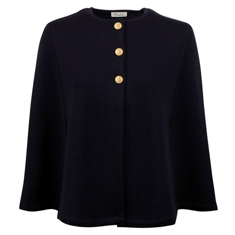 Short Navy Cape in Merino Wool