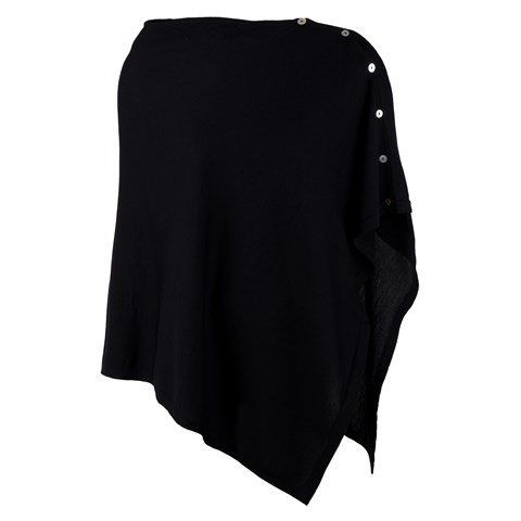 Black Poncho with Buttons
