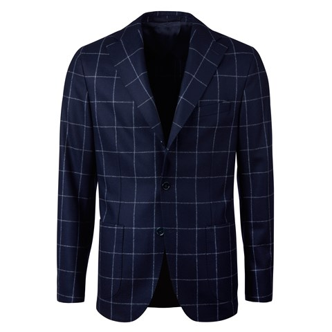 Unconstructed Navy Windowpane Wool Blazer
