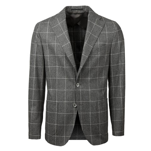 Grey Windowpane Wool Blazer