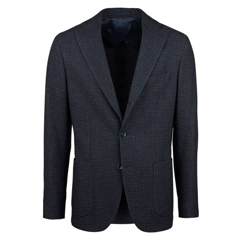 Unconstructed Blue Textured Boucle Jacket