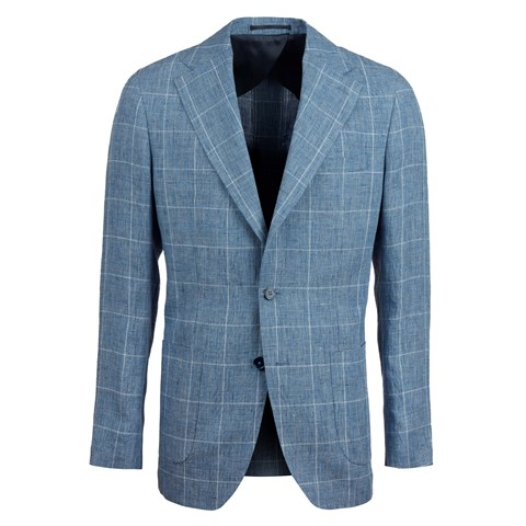 Light Blue Checked Linen Blazer