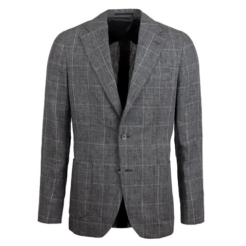 Grey Checked Linen Blazer