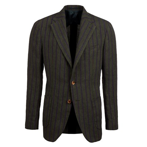 Green Striped Cotton Linen Blazer