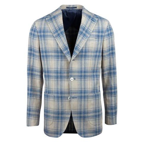 Blue Checked Cotton Linen Blazer
