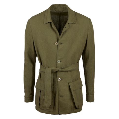 Green Linen Safari Jacket