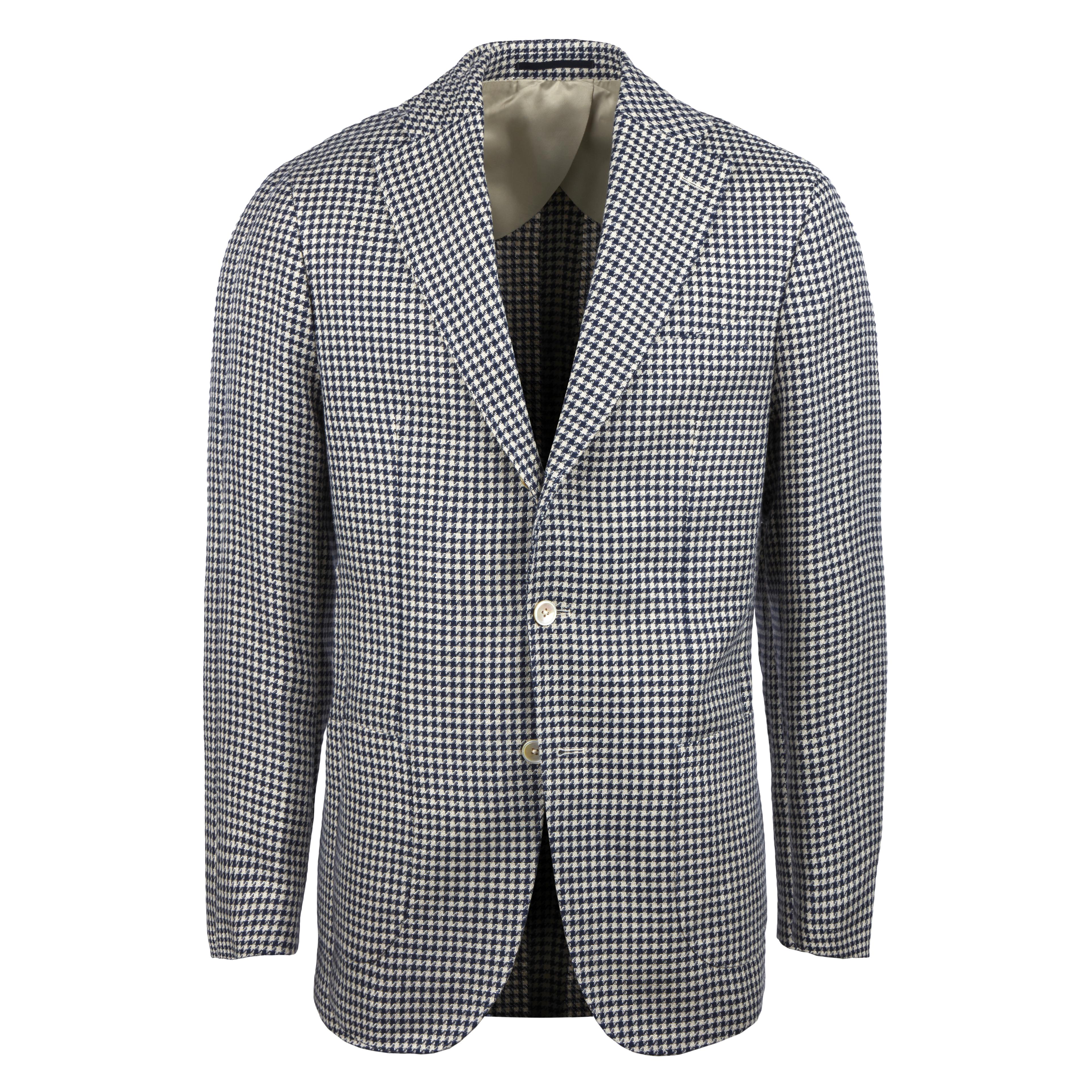 Navy & Beige Houndstooth Cotton Linen Blazer