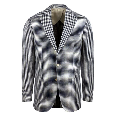 Navy & Beige Houndstooth Cotton Linen Blazer