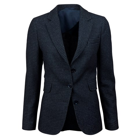 Blue Textured Boucle Jacket