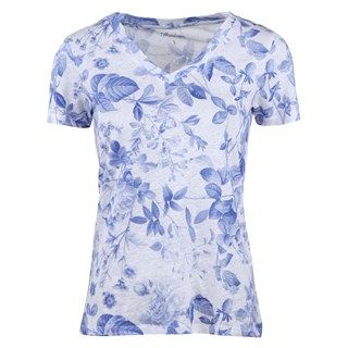 Blue Leaf Patterned Linen T-shirt
