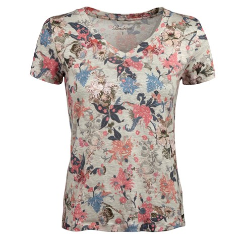 Grey Flower Patterned Linen T-shirt