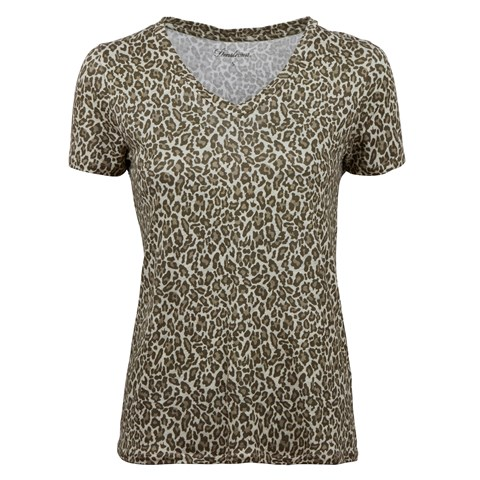 Brown Leopard Patterned Linen T-shirt