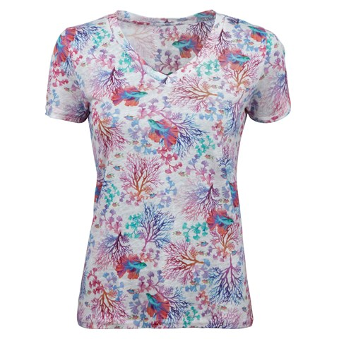 Colorful Coral Reef Linen T-shirt