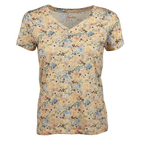 Yellow Flower Patterned Linen T-shirt