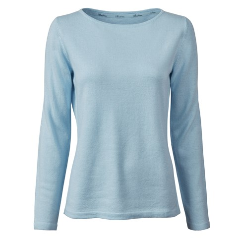 Light Blue Silk Cashmere Boat Neck