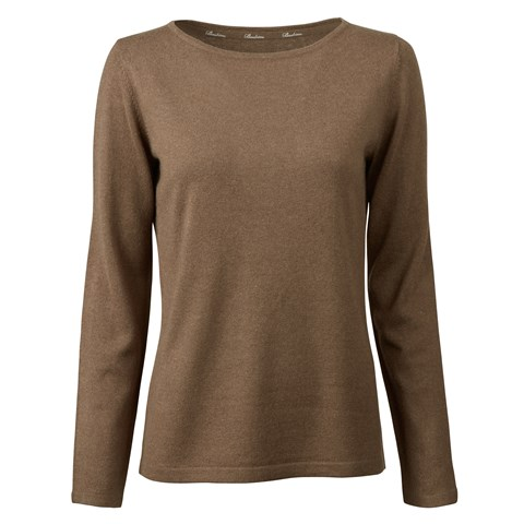 Brown Silk Cashmere Boat Neck