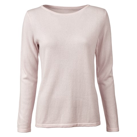 Light Pink Silk Cashmere Boat Neck