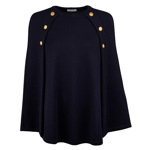 Navy Cape in Merino Wool