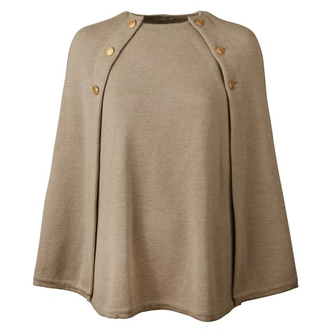 Beige Cape in Merino Wool
