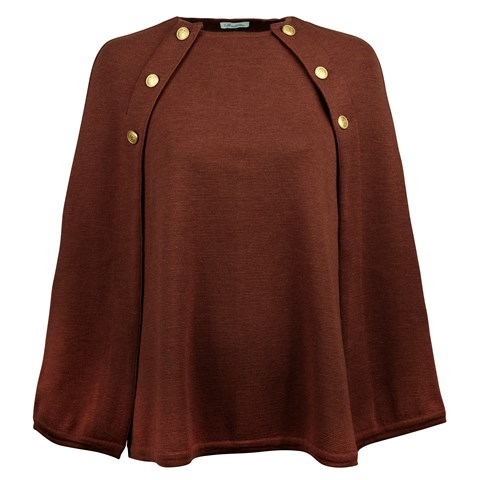 Brown Cape in Merino Wool