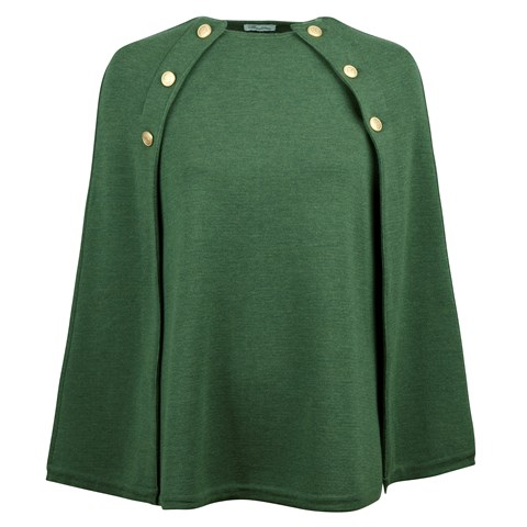 Green Cape in Merino Wool