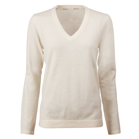 Creme V-Neck Cashmere Sweater