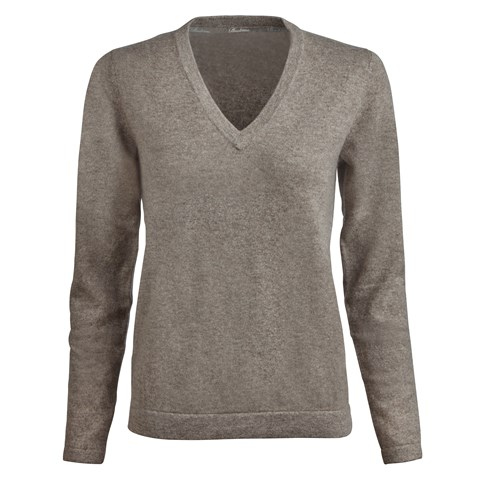 Mud Brown V-Neck Cashmere Sweater