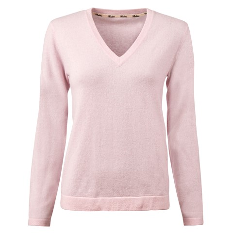 Pink V-Neck Cashmere Sweater