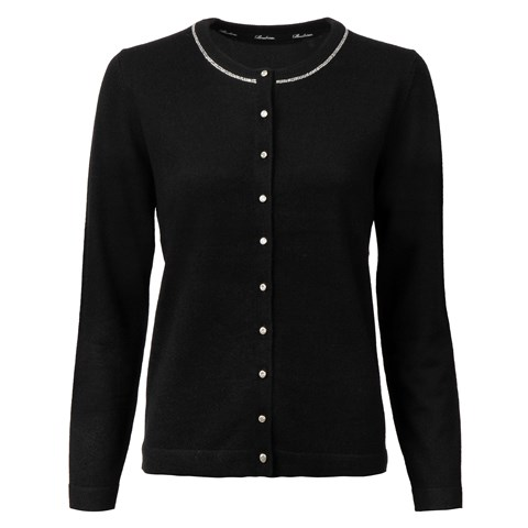 Black Cashmere Cardigan With Strass