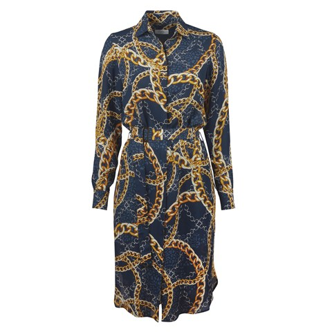 Blue Chain Patterned Dress