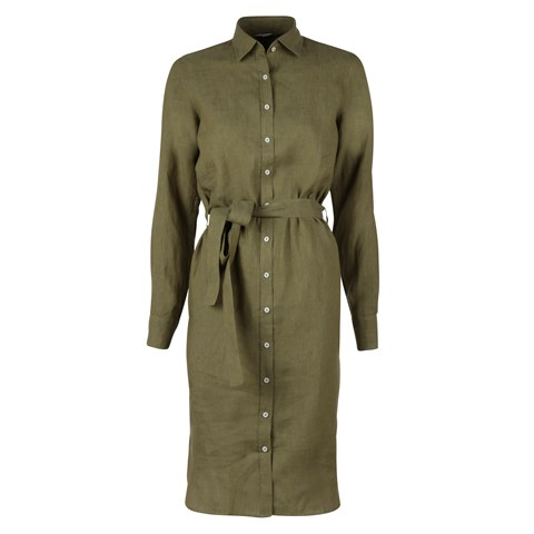 Linen Shirt dress Green